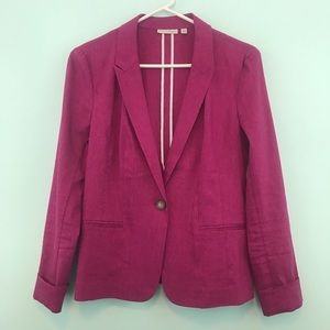 Halogen Fuchsia Linen One Button Blazer